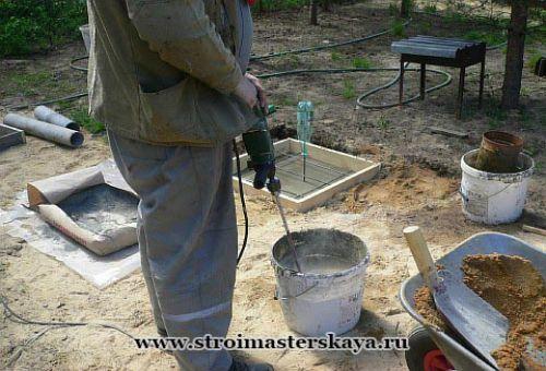 Приготовление раствора для заливки в опалубку (фото)